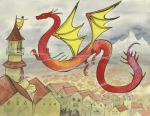 Dragon soaring over a town reaches out to a tiny girl on the top of a tower Fantasy art Carmen Wood Illustration art