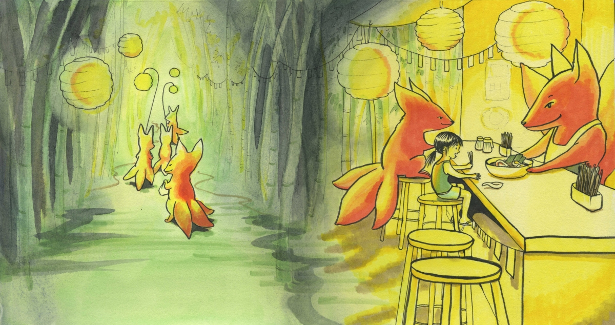 Fantasy art foxes serving ramen in the woods Carmen Wood Illustration art