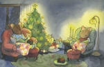 A family of mice snugs on couches around a Christmas tree Fantasy art Carmen Wood Illustration art