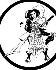 The heart she's holding says 'I love you!' in Japanese (I hope). And who wouldn't want a sword thing like that?!