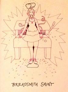 Pink line art self portrait Carmen Wood illustration