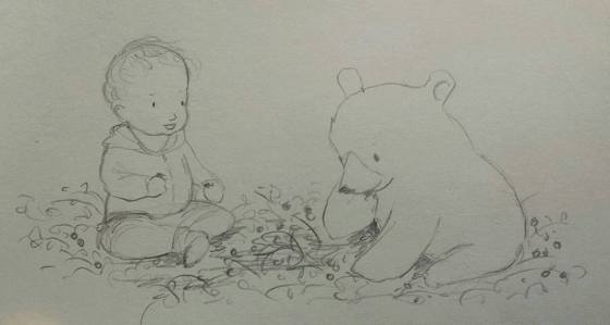 Baby and Bear Eat Berries