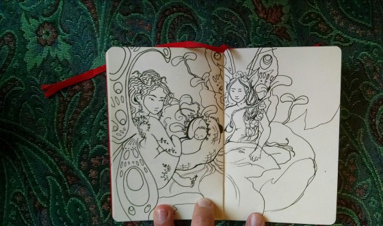 Fairy black pen drawing Carmen Wood Illustrator whimsical picture book art Minneapolis