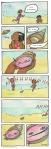 Two girls playing on the beach find a creepy shell guy who grins at them. Carmen Wood Illustration Minneapolis illustrator picture book art children's book art graphic novel art comic book art beach art goofy comic Carmen Wood artist
