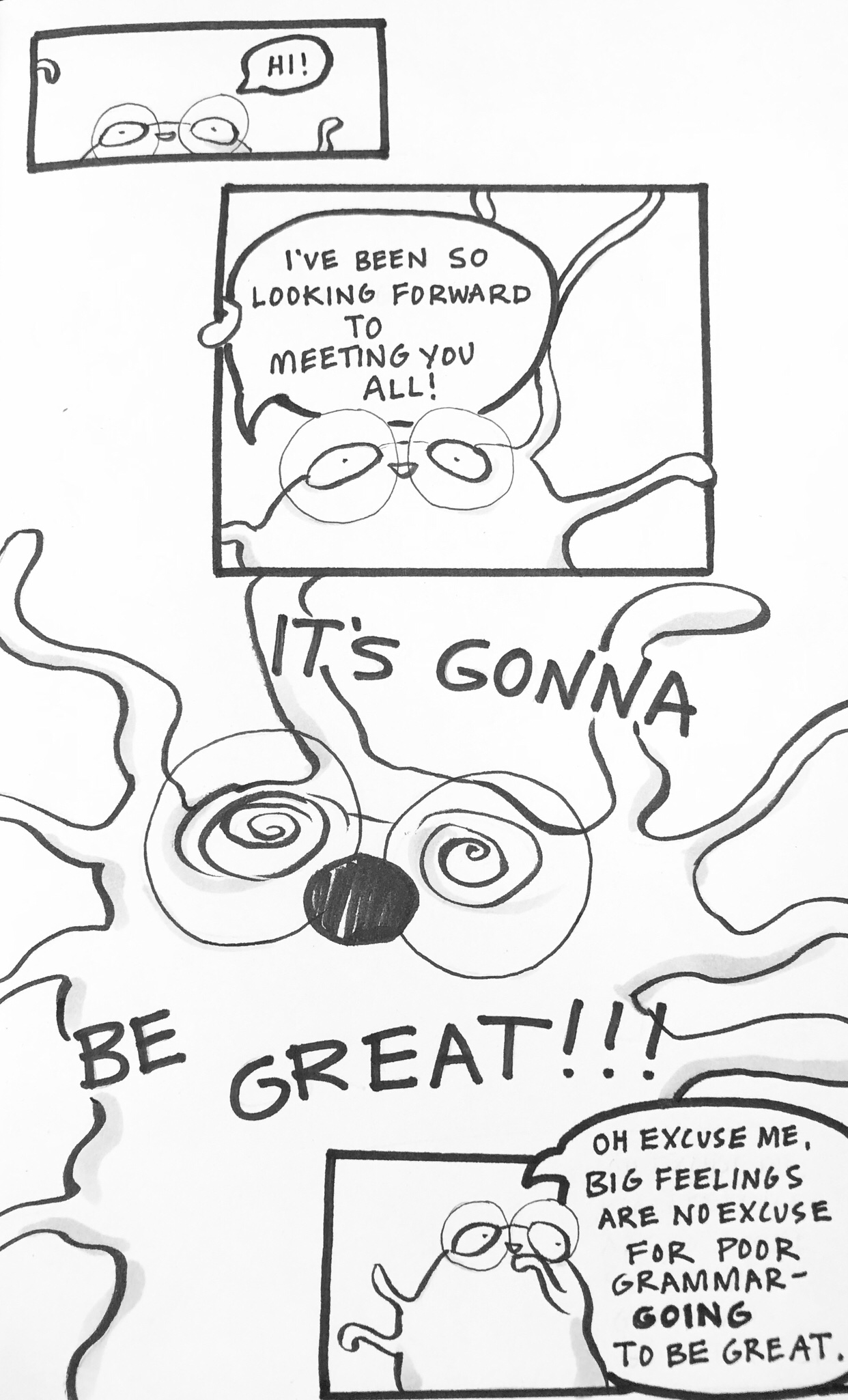 Black and White comic, critter with big glasses and squiggly arms, Carmen Wood Illustration, illustrator, artist, graphic novel, Minneapolis, picture book, children's book art