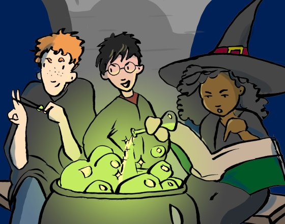 Harry Potter in Potions Class, Carmen Wood Illustration Minneapolis art graphic novel idea comic art