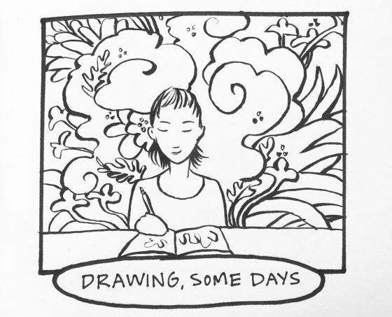 Black and White line art Carmen Wood drawing with magic swirls
