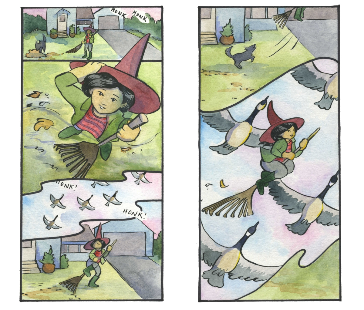 A witch rakes her lawn, sees geese flying overhead, and hops on her rake to join them Carmen Wood Illustration Minneapolis comic art graphic novel children's illustration fantasy art