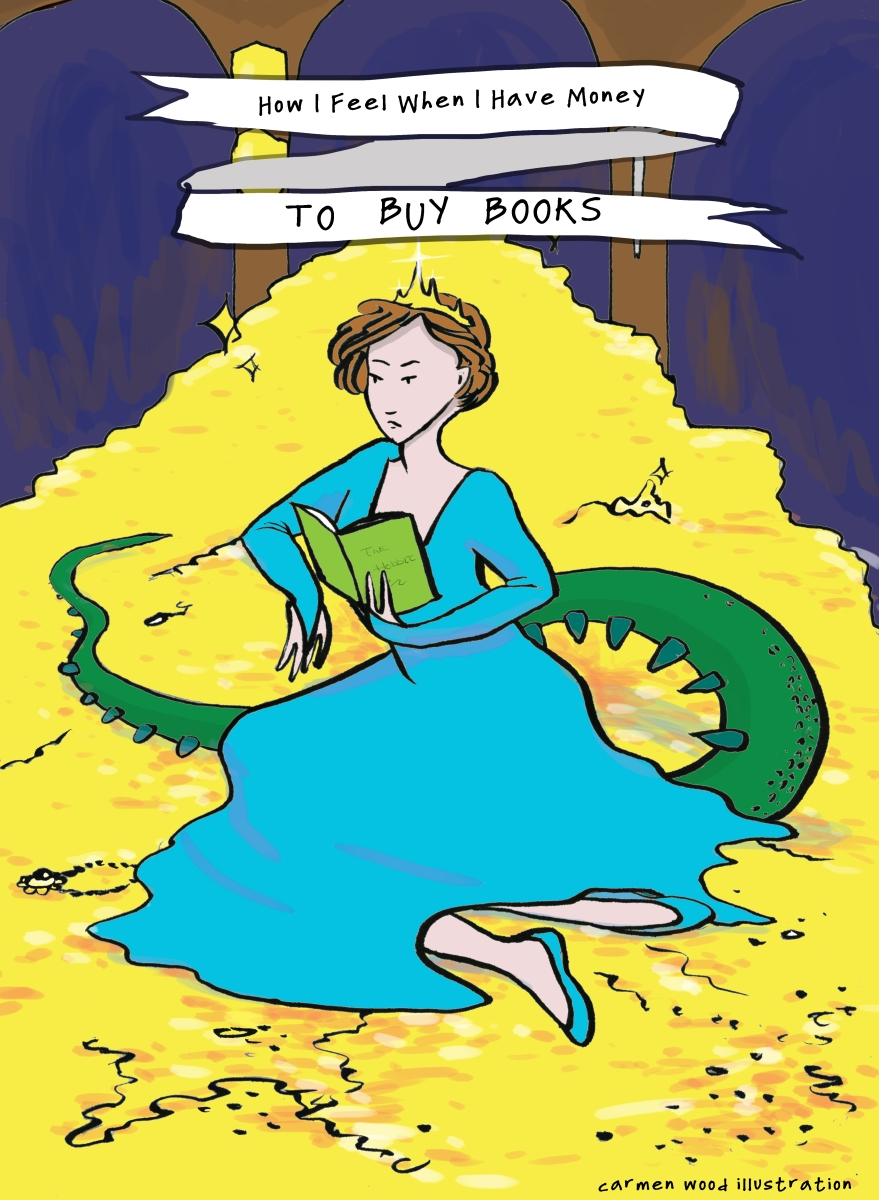 A queen in a blue dress with a long dragon tail sits reading on a pile of gold Carmen Wood Illustration Minneapolis comic art graphic novel children's illustration fantasy art