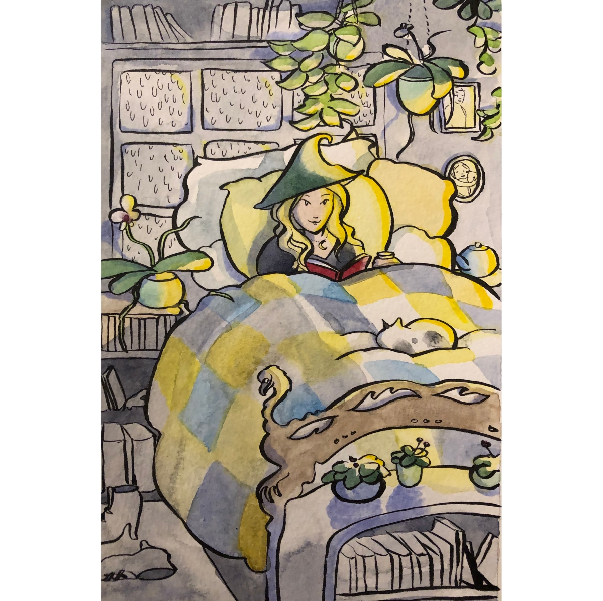 A blond haired white woman witch in a cozy bed with a cat, a book, and a cup of tea Carmen Wood Illustration Minneapolis comic art graphic novel children's illustration fantasy art
