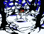 A brown skinned elf rides a dainty white deer through a snowy woods Carmen Wood Illustration Minneapolis comic art graphic novel children's illustration fantasy art