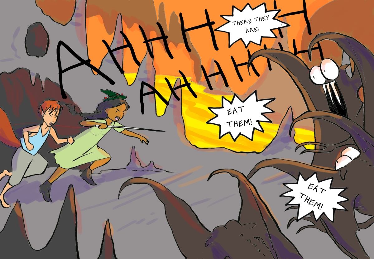 Two kids rush out of a cave to attack the ghouls Carmen Wood Illustration Minneapolis comic art graphic novel children's illustration fantasy art