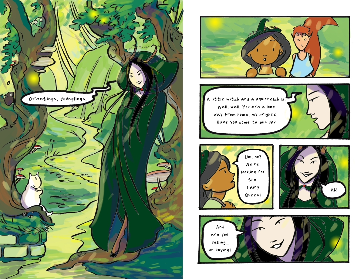 A magical fairyland landscape, with a woman in a green cloak leaning on a tree talking to two young children Carmen Wood Illustration Minneapolis comic art graphic novel children's illustration fantasy art