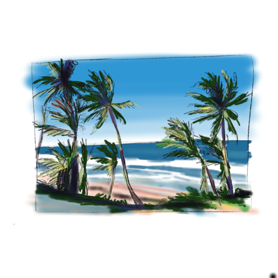 Palm trees on a beach Carmen Wood Illustration comic art graphic novel children's book art kid lit art Minneapolis