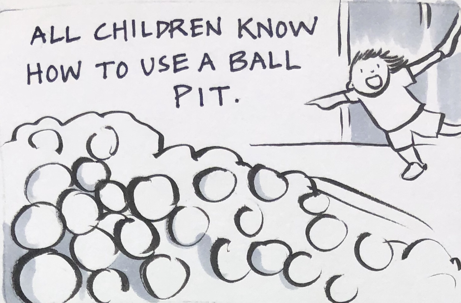 Child going to ball pit Carmen Wood art illustration comic art graphic novel Minneapolis