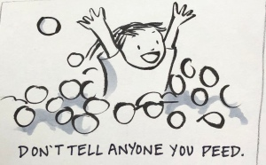 Child busting out of ball pit Carmen Wood art illustration graphic novel Minneapolis