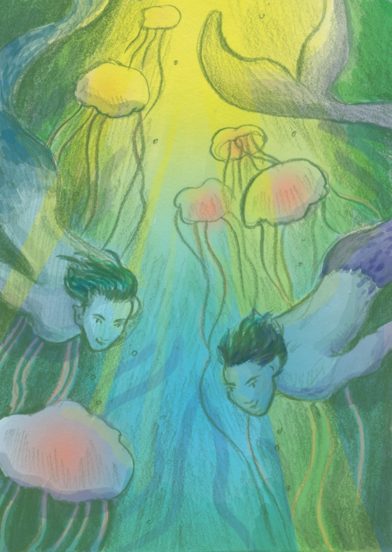 Mermen in a glowing sea of jellyfish Carmen Wood Illustration art Minneapolis graphic novel children's book illustration kidlit art