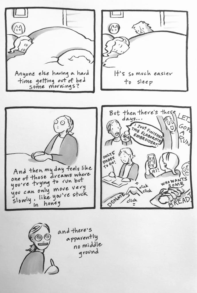 Carmen Wood illustration black and white comic about feeling dreary in quarantine Minnesota art comic