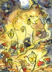 Woodland Critters in a glowing lanternlit forest Carmen Wood Illustration Minneapolis Minnesota comic art graphic novel children's illustration illustrator fantasy art webcomic fantasy magic lbgtquia+ kidlit