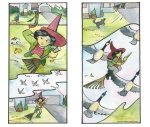 Witch flies with geese Carmen Wood Illustration Minneapolis Minnesota comic art graphic novel children's illustration illustrator fantasy art webcomic fantasy magic lbgtquia+ kidlit