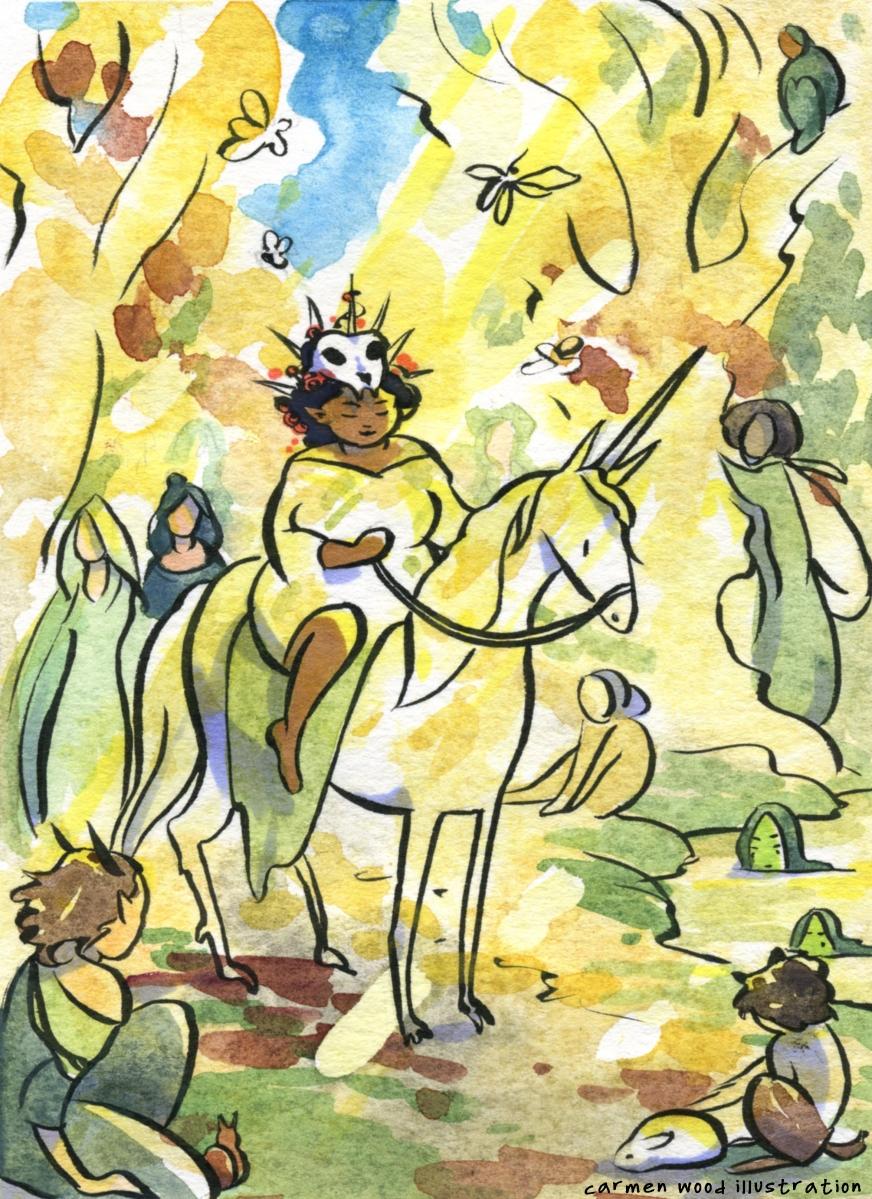 Day court sunny fairy procession Carmen Wood Illustration Minneapolis Minnesota comic art graphic novel children's illustration illustrator fantasy art webcomic fantasy magic lbgtquia+ kidlit