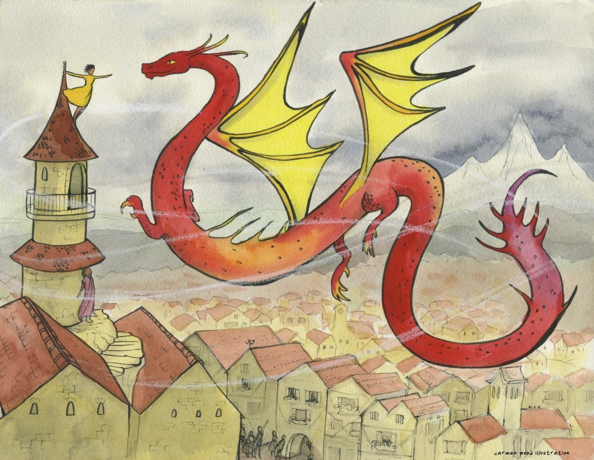 Red dragon flies over a city Carmen Wood Illustration Minneapolis Minnesota comic art graphic novel children's illustration illustrator fantasy art webcomic fantasy magic lbgtquia+ kidlit