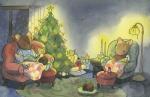 Mice in a cozy living room at Christmas Carmen Wood Illustration Minneapolis Minnesota comic art graphic novel children's illustration illustrator fantasy art webcomic fantasy magic lbgtquia+ kidlit