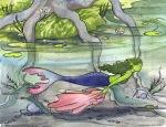 Marianne the mermaid swims under the lake Carmen Wood Illustration Minneapolis Minnesota comic art graphic novel children's illustration illustrator fantasy art webcomic fantasy magic lbgtquia+ kidlit
